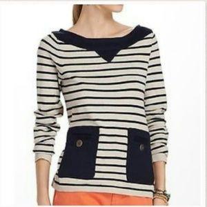 Anthro. Tabitha Sailor Striped Pocket Sweater